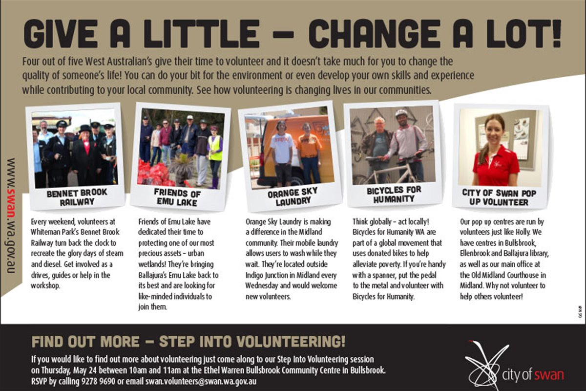 National Volunteer Week - Give a little  Change a lot!